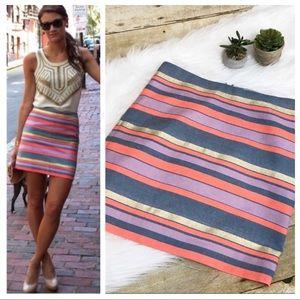 J. Crew Shiny Stripe Mini Skirt SZ 00 :G5